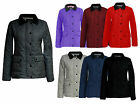 New Ladies Womens Quilted Padded Zip Button Plus Size Jacket Coat Top Size 8-20