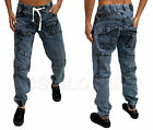 New Mens Designer Zico Acid Denim Cuffed Funky Stylish Jeans Tapered Fit Joggers