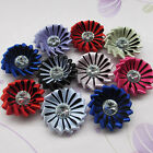 16/80pcs Satin Ribbon Flowers With Stone Wedding Sewing Appliques Crafts RB122
