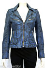 Candice Blue Ladies Womens  Vintage Biker Style Real Washed Sheep Leather Jacket