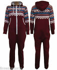 NEW WOMENS LADIES AZTEC PRINT HOODED BAGGY WINE ALL IN ONE ONESIE JUMPSUIT 6-16