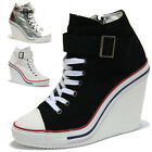 Womens White Wedge Buckle Strap Zip Trainers Sneakers Ankle Boots
