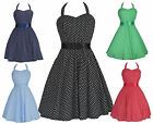 Vintage 50's 60's Classic Polka Dot Rockabilly Swing Prom Cocktail Dress UK 8-24
