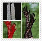 Ladies White Black Red Long Stretchy Lace Wedding Party Evening Prom Gloves