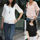 Chiffon patchwork Cotton Casual Blouse Top T-shirt SZ XS-S/6-8 T019