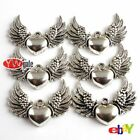20pcs Tibetan Silver Bronze Tone Cupid Wing Heart Charm Pendants For DIY Jewelry