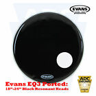 "Evans EQ3 Bass Drum Skin Black Ported Resonant Kick Head: 18"" to 24"" (Front)"