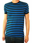 MENS stripey tee t-shirt navy blue black indie mod sailor preppy nautical vtg