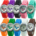 MENS WOMENS 3 DECOR DIALS CRYSTAL GEMSTONES SILICONE JELLY WATCH WRISTWATCH BE4K