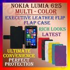 EXECUTIVE MULTI-COLOR LEATHER FLIP CASE for NOKIA LUMIA 625 FRONT & BACK COVER