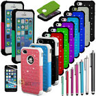 New Hybrid Rugged Rubber Bling Crystal Hard Case Cover for iPhone 5G 5S + Gifts
