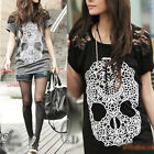 AU SELLER Celeb Style Punk Skull Print Sexy Shoulder Lace Long Top T-Shirt  T117