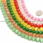 10mm Round Lab Created Cat's Eye Glass Beads For Jewelry Making Strand 14""