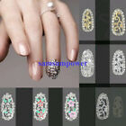 10 Gold Silver Alloy Plate 3D Hollow Metal Metallic Rhinestone Full Nail Art Tip