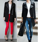 Womens Faux Leather Lapel Parka Long Zip Trench Coat Outerwear Military Jacket