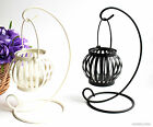 Hanging Retro Iron Hook Ring Candle Holder Pumpkin Lantern Candlestick w/Candle
