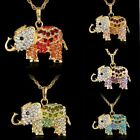 Women's Exquisite Elephant Long Chain Rhinestone Crystal Necklace Gold /Silver