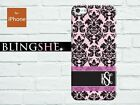 Personalised pink damask Monogram hard case for iPhone 4 4s 5 5s 5c mn514