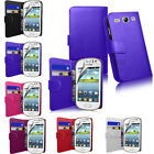 NEW SAMSUNG GALAXY ACE 3 S7270 S7275 PU WALLET LEATHER CASE COVER & SCREEN GUARD