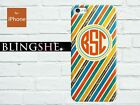 Customised monogram color strips hard case for iPhone 4 4s 5 5s 5c mn-sp09