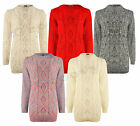 Ladies Womens New Chunky Cable Knitted Sleeve Long Pull Over Jumper Top Winter