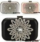 Flowers Rhinestone Women Bride Cocktail Party Evening Clutch Bag Handbag Purse