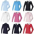 (Free PnP) Front Row Womens/Ladies Long Sleeve Plain Sports Rugby Polo Shirt