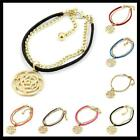New Fashion Assorted Colors Leather Gold Plated Charms Rose Style Bracelet