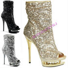 "PLEASER BLONDIE-R-1008  6"" Sequined Open Toe Ankle Boot Dual Platform Rhinestone"