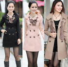 Womens Lady Slim Double-Breasted Long Trench Jacket Scarf Coat Outwear M-XXXL