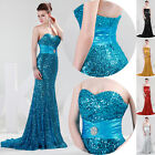 Strapless Sequins Mermaid Evening Formal Prom Gown Bridemaid Masquerade Dresses