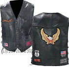 Black Leather Motorcycle Riding Vest with Eagle and Biker Patches Lace Up Sides