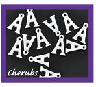 6 X SILVER PLATED LETTER / INITIAL CHARMS A-Z