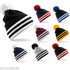 Beechfield Varsity Beanie Bobble Hat 8 Colours Slouch Style with Pom Pom B453
