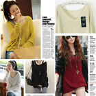 Women V-Neck Long Sleeve Oversize Batwing Knit Sweater Loose Jumper Pullover xm*