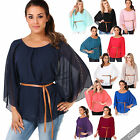 Womens Boho Summer Chiffon Kimono Top Oversize Long Belted Batwing Tunic Party