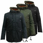Mens Parka Jacket Coat Warm Winter Green Navy Black S M L XL XXL Parker