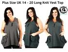PLUS LARGE SIZE14-20 LADIES KNITTED LONG VEST TOP CARDIGAN OVERSIZE JUMPER DRESS