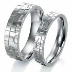 Stainless Steel Love Silver Colour Mens Women Lover Couple Wedding Ring Set