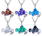 Jewelry Lady's Gift Mouse Animal Crystal Pendant Necklace Long Chain 6 Colors
