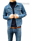Mens NEW Jacket Coat Denim Blue stone wash short indie mod retro vtg Cord s m xl