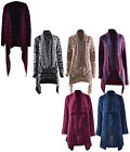 Women Waterfall Aztec Cable Knitted Ladies Long Boyfriend Cardigan Jumper SM-ML