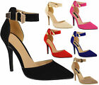 Ladies Womens High Heel Stiletto Point Toe Ankle Strap Sandals Court Shoes Size