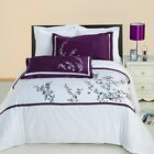 Luxury White, Mauve, Lavender & Black Spring Valley Embroidered Duvet Cover