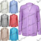 Womens Ladies 5 Buttons Long Sleeves Cable Chunky Knitted Long Cardigan Top Size