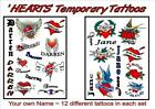 PERSONALISED your  NAME X8  HEART TATTOOS  temporary  WATERPROOF LAST 1 WEEK+