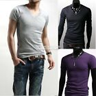 Mens sexy Slim Fit basic Tee V-Neck Cotton Muscle Tops Short/Long Sleeve EA