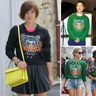Women Embroidery 3D Tiger Head Top Shirt Jumper Sweater Sweatshirt Hoodie SWTG