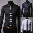 Jeansian Mens Casual Dress Shirts Tops Slim Fashion Trend 3 Colors 5 Sizes 8516
