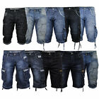 Mens Denim Crosshatch Shorts Cargo Combat Jeans Faded Summer Designer Casual New